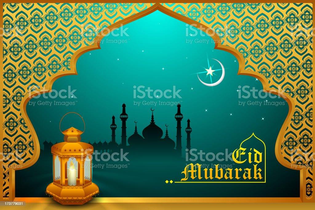 Glowing lamp on Eid Mubarak background royalty-free stock vector art