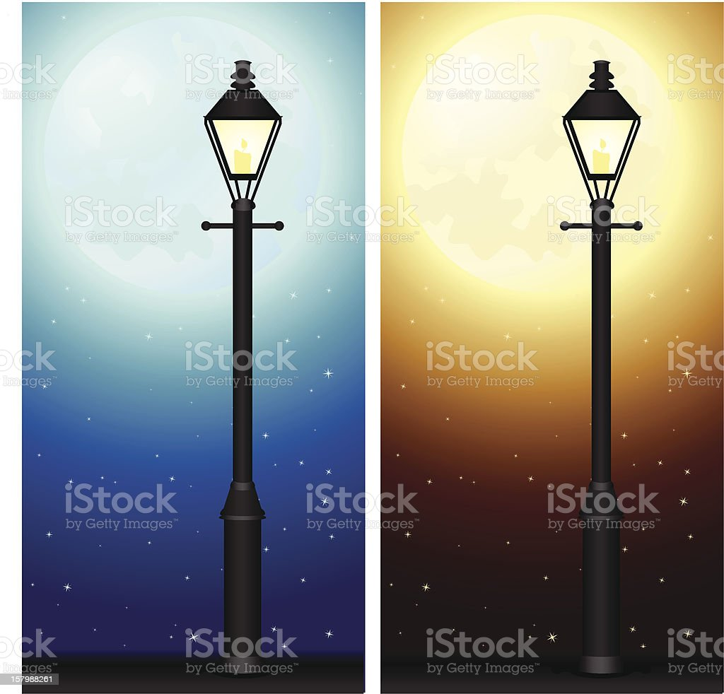 Glowing Lamp Posts and Moon vector art illustration