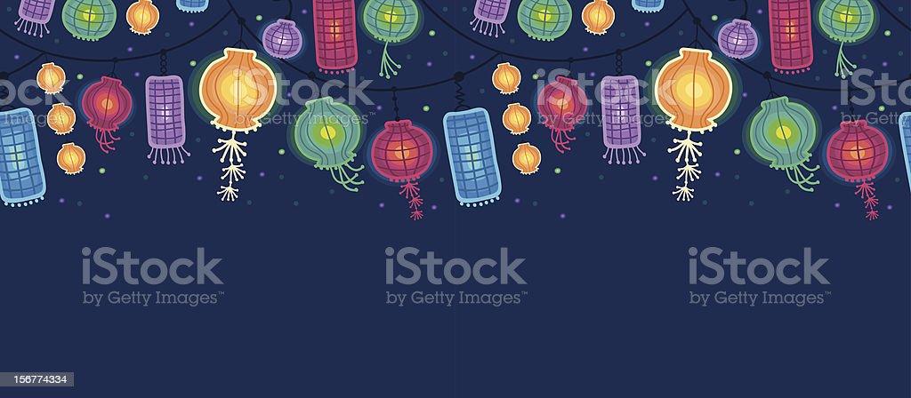 Glowing Lanterns Horizontal Seamless Pattern Ornament vector art illustration