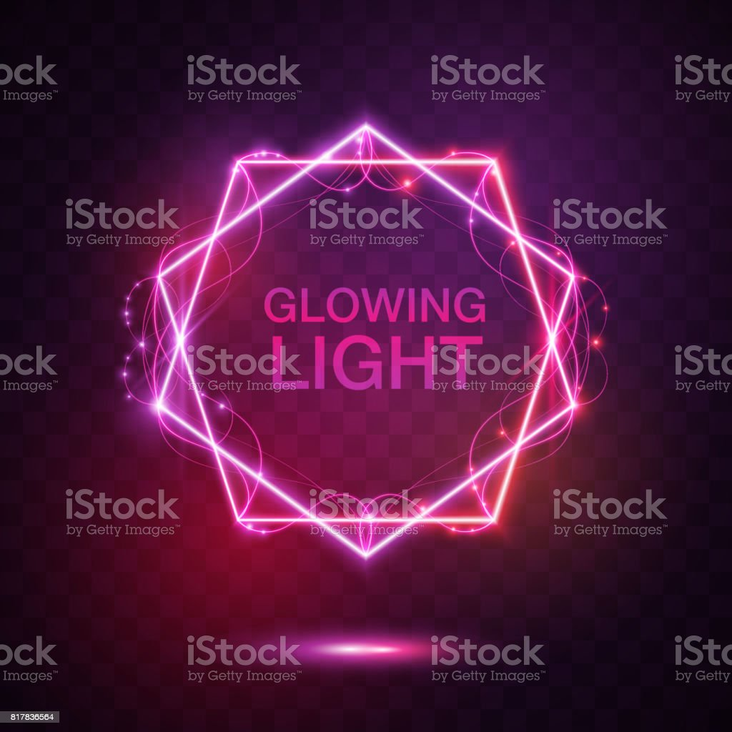glowing light border template vector art illustration