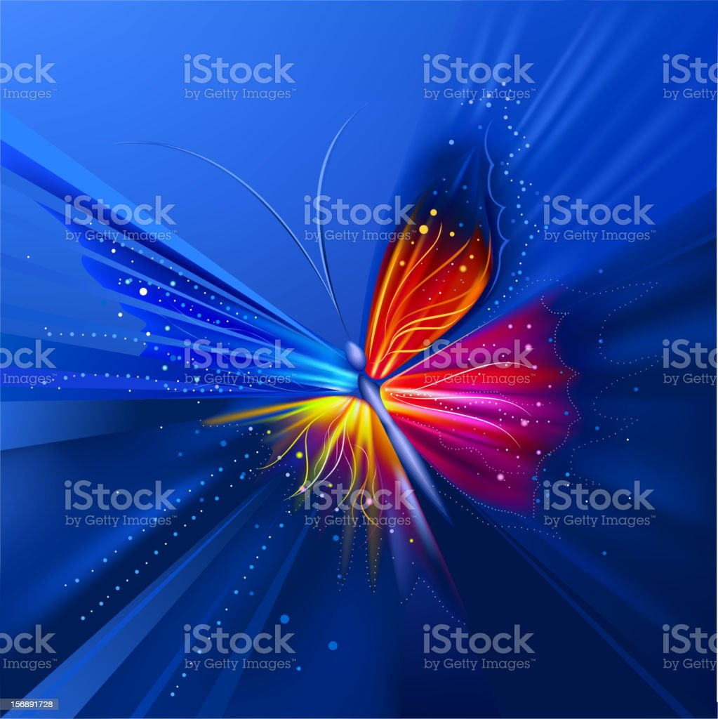 Glowing multicolored butterflies royalty-free stock vector art