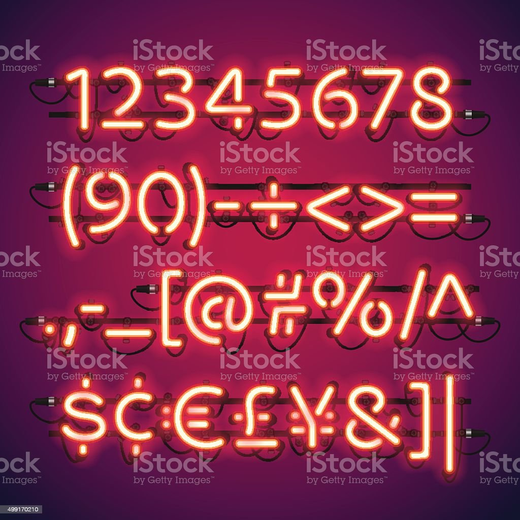 Glowing Neon Bar Numbers vector art illustration