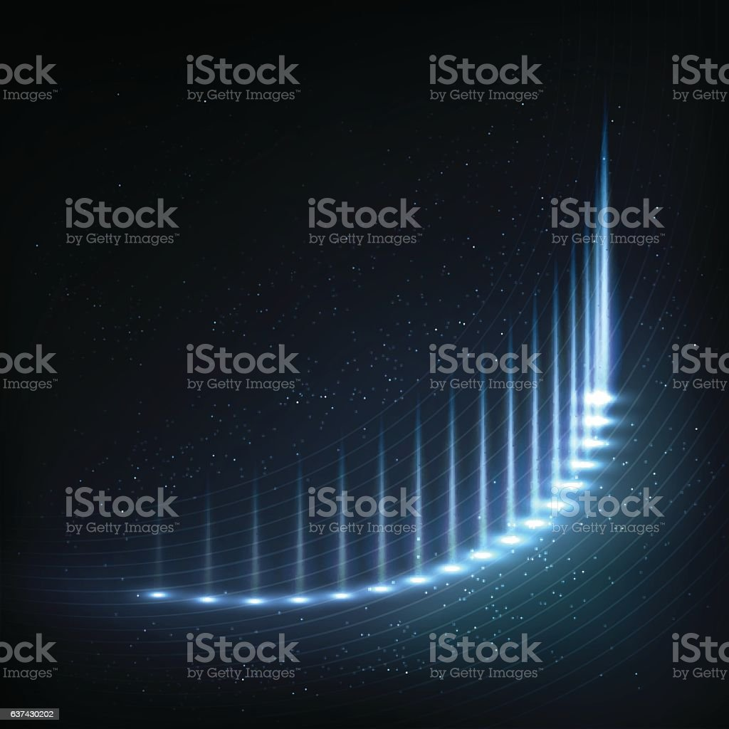 Glowing neon curves with distorted lines, bright sparkles vector art illustration