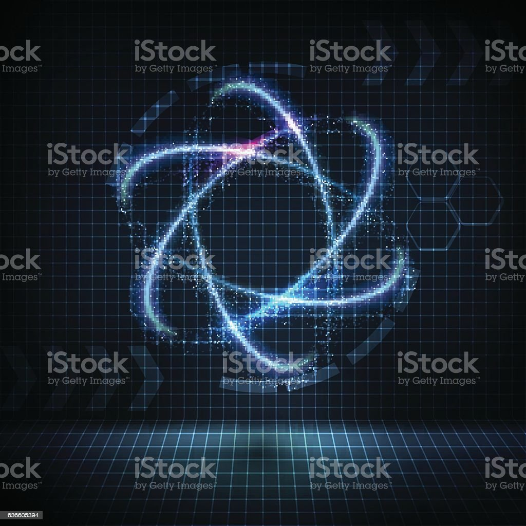 Glowing neon nuclear icon with bright sparkles vector art illustration