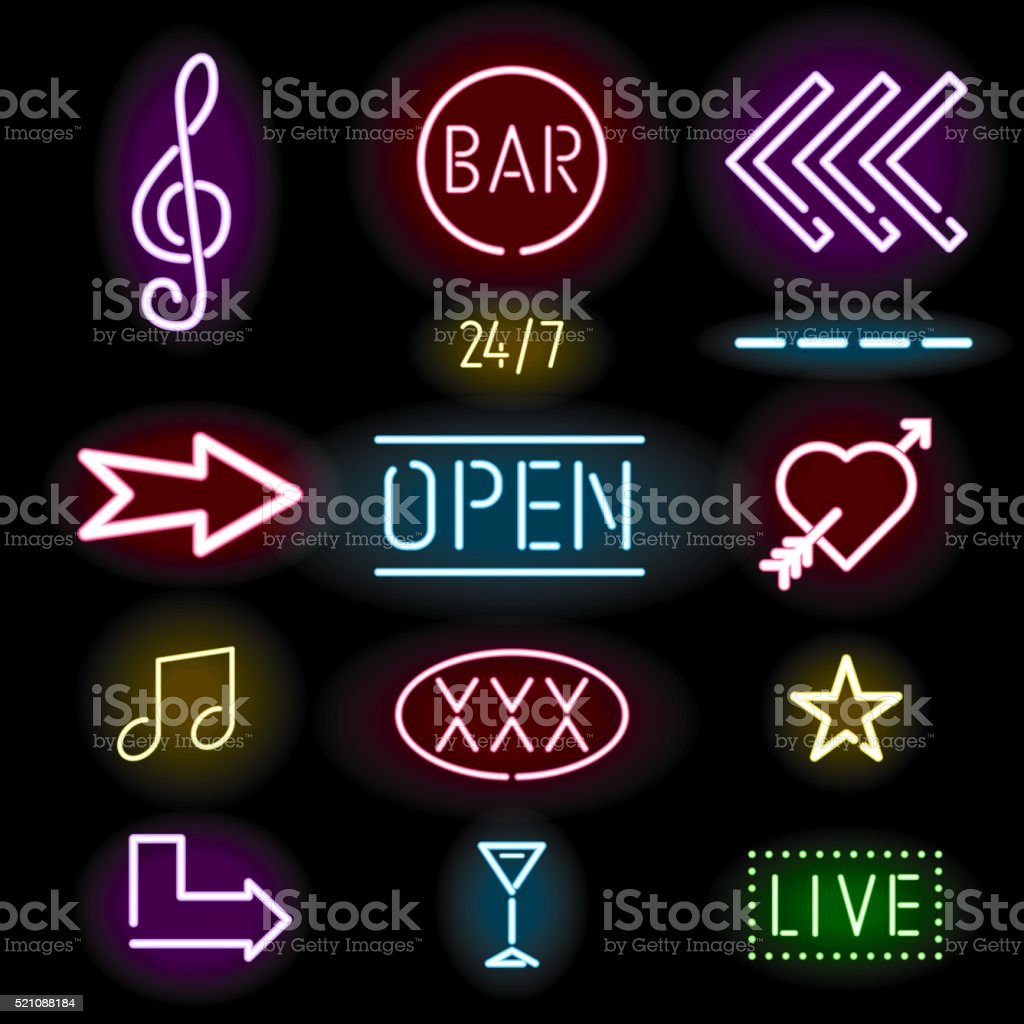 Glowing neon signs, icon set vector art illustration