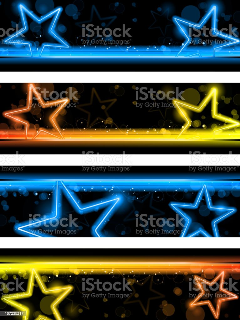 Glowing Neon Stars Background royalty-free stock vector art