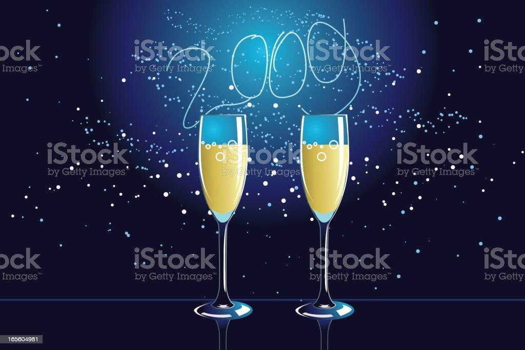 Glowing New Year vector art illustration
