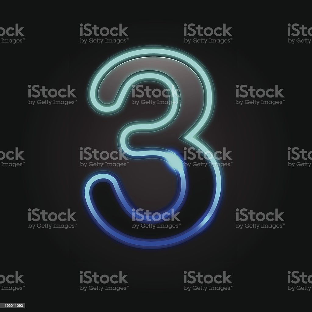 Glowing Number - 3 royalty-free stock vector art
