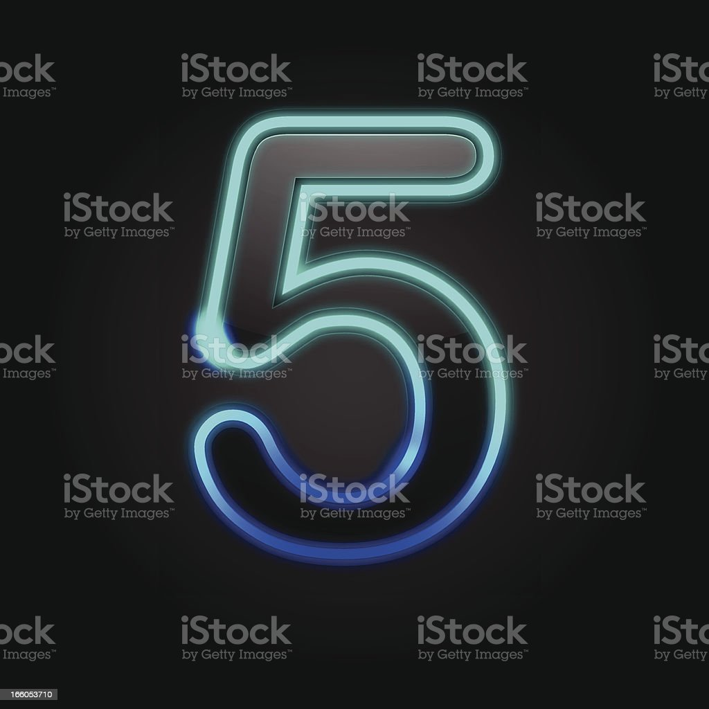 Glowing Number - 5 royalty-free stock vector art