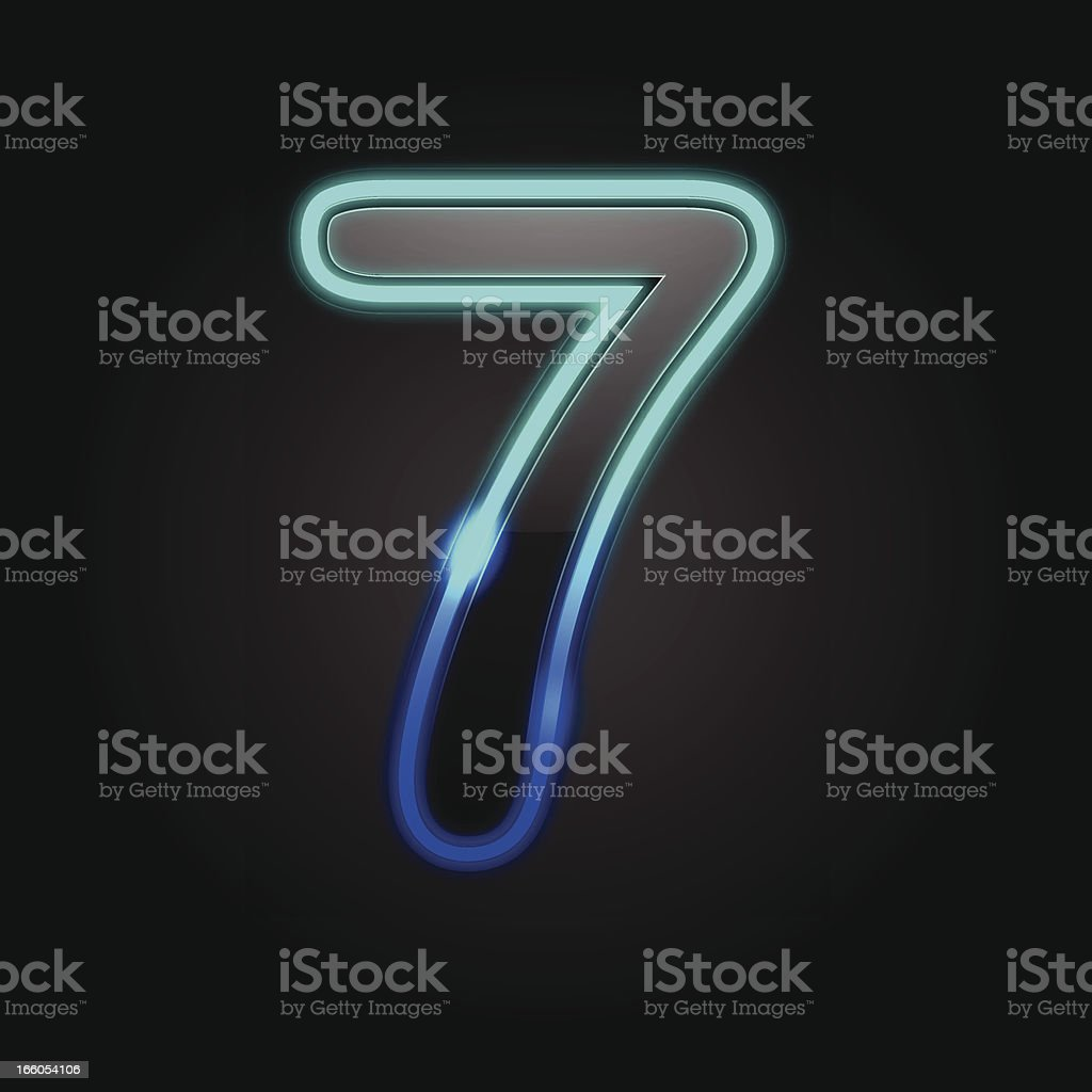 Glowing Number - 7 royalty-free stock vector art