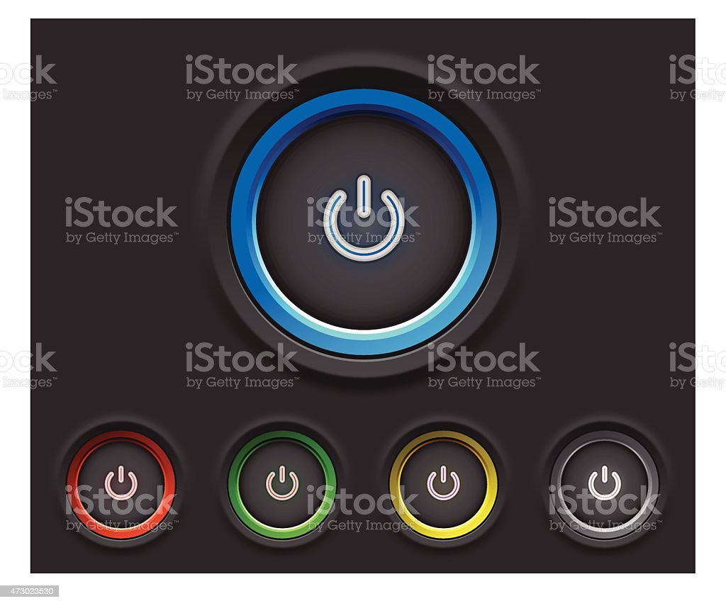 Glowing power buttons vector art illustration