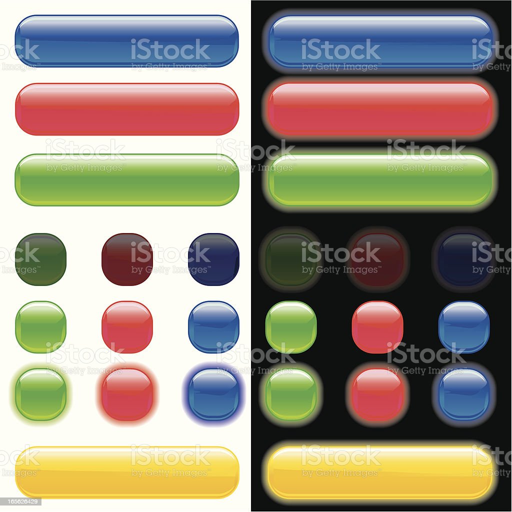 Glowing rollover web buttons vector art illustration