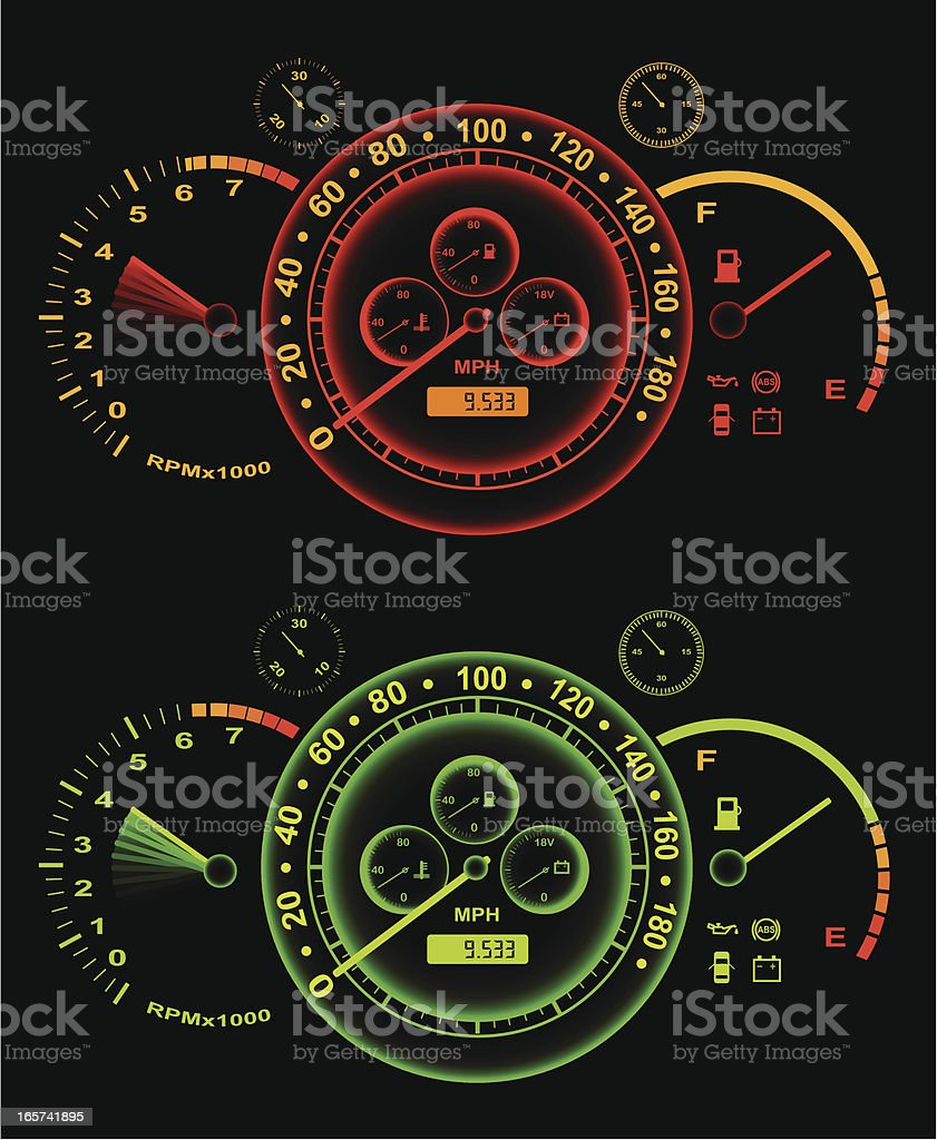 Glowing speedometer royalty-free stock vector art