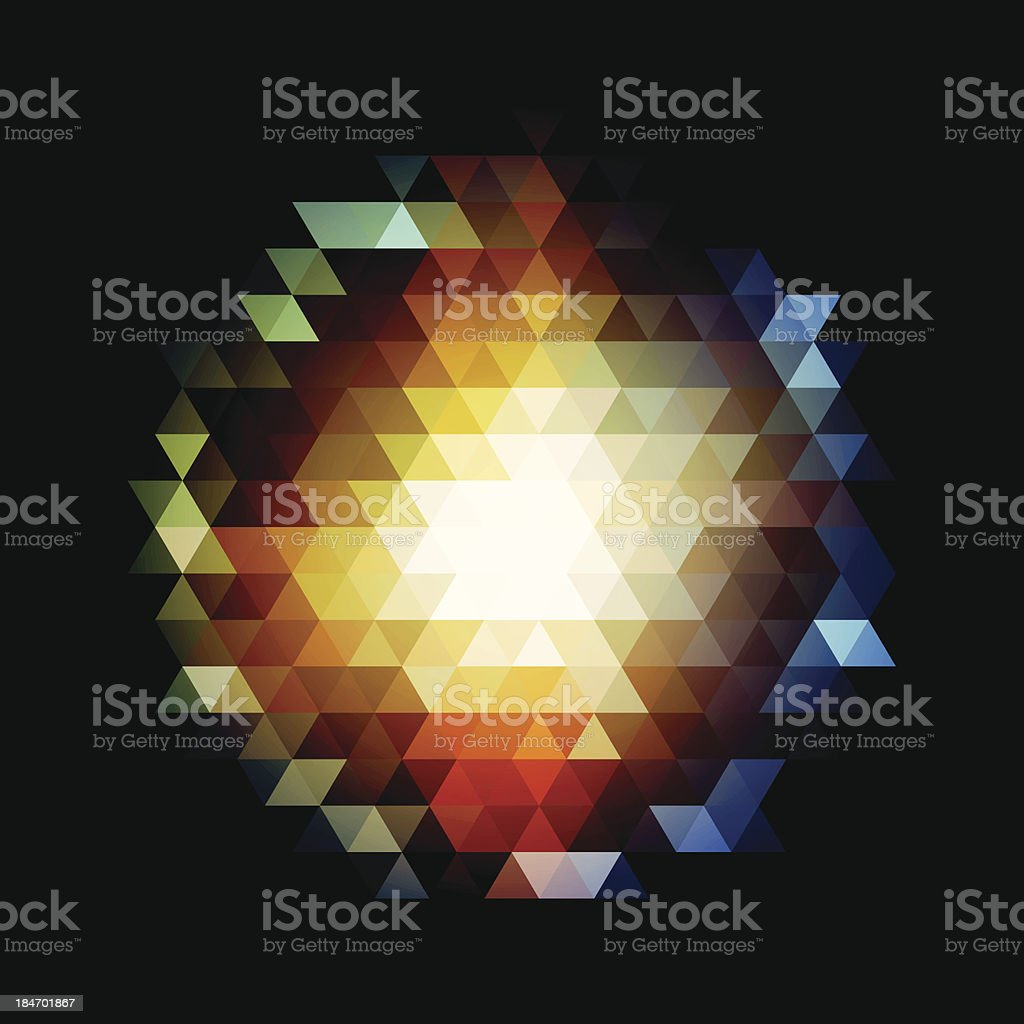 Glowing Sphere Mosaic Polygon Pattern Design Graphic Art Color Background royalty-free stock vector art