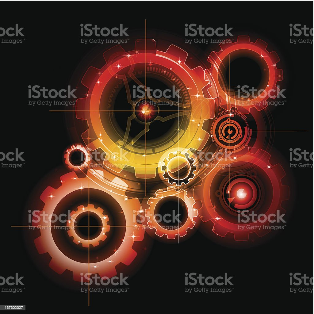 Glowing techno gear mechanism vector royalty-free stock vector art