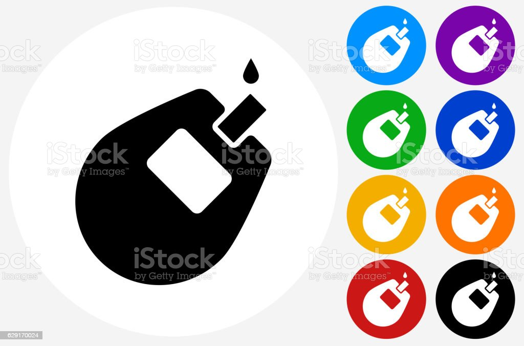 Glucose Monitor Icon on Flat Color Circle Buttons vector art illustration