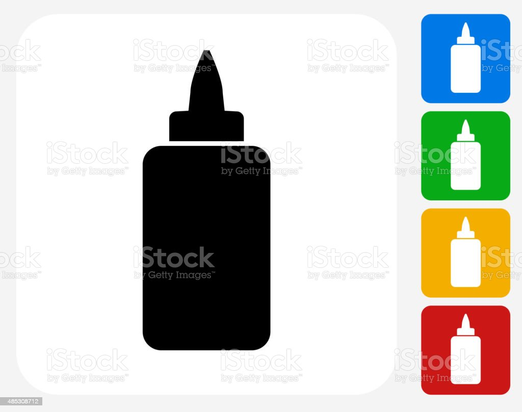Glue Bottle Icon Flat Graphic Design vector art illustration
