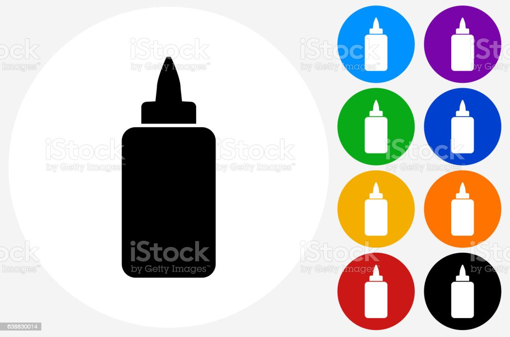 Glue Bottle Icon on Flat Color Circle Buttons vector art illustration