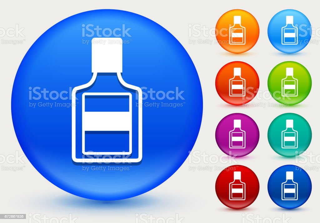 Glue Bottle Icon on Shiny Color Circle Buttons vector art illustration