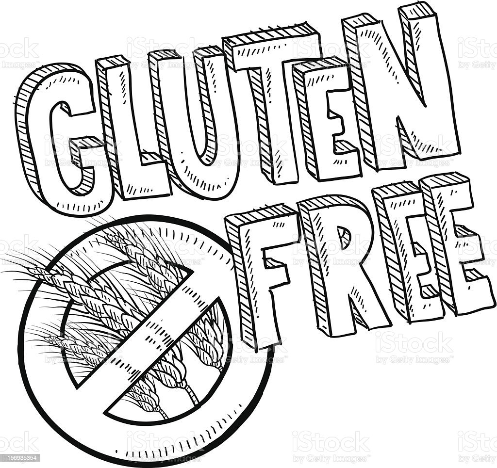 Gluten free food label sketch royalty-free stock vector art