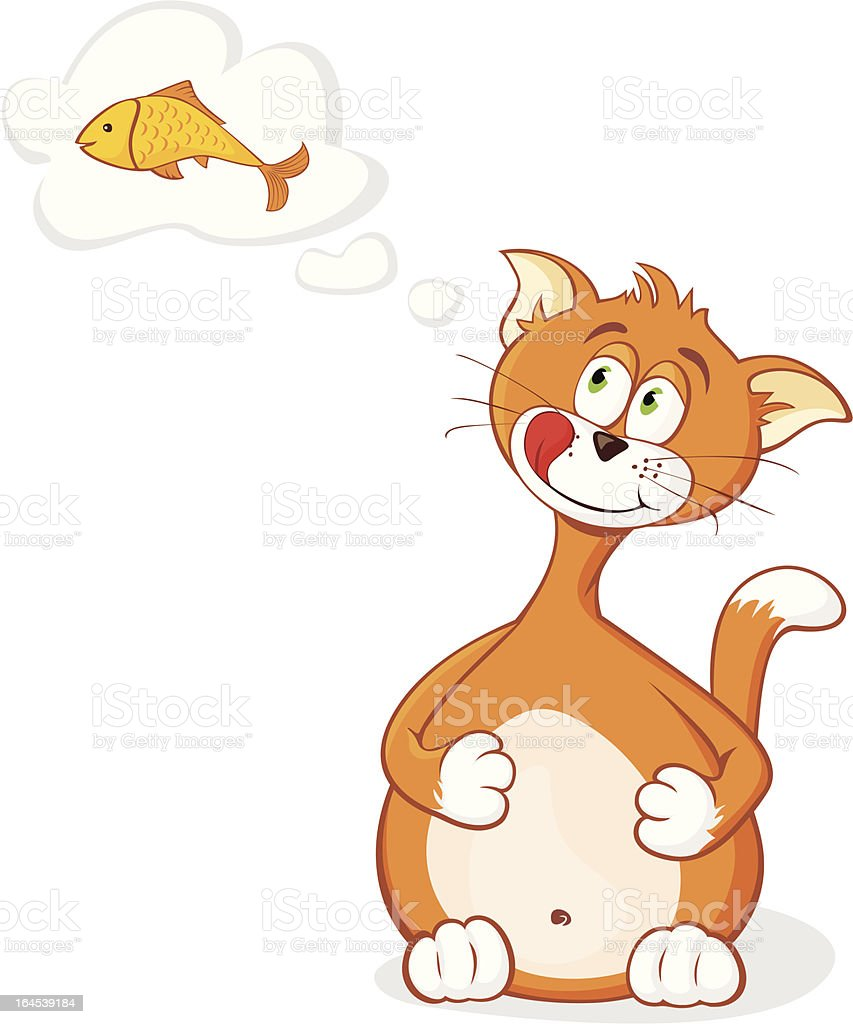 Glutton Cat DayDreaming royalty-free stock vector art