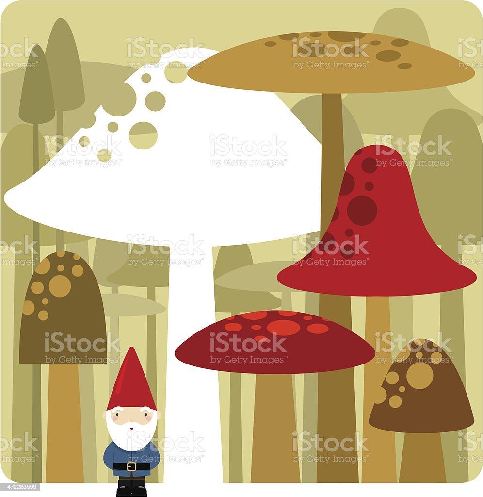 gnome and mushrooms royalty-free stock vector art