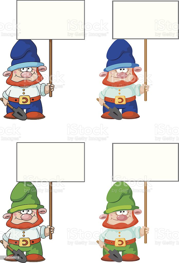 gnome with blank sign royalty-free stock vector art