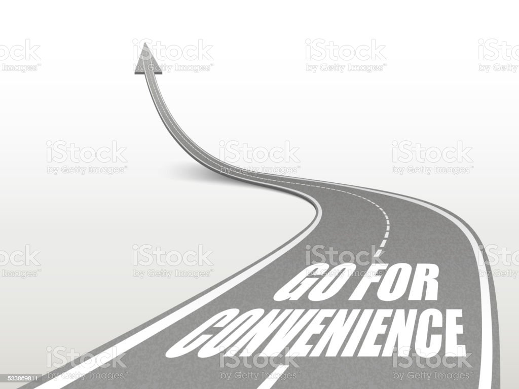 go for convenience words on highway road vector art illustration