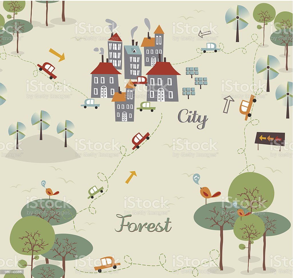 Go green city pattern royalty-free stock vector art