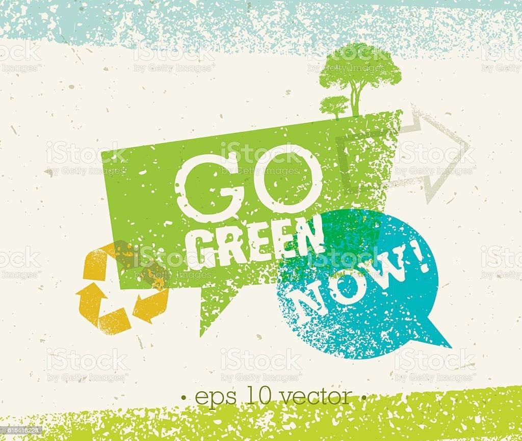 Go Green Eco Vector Rough Speech Bubble Design Element vector art illustration
