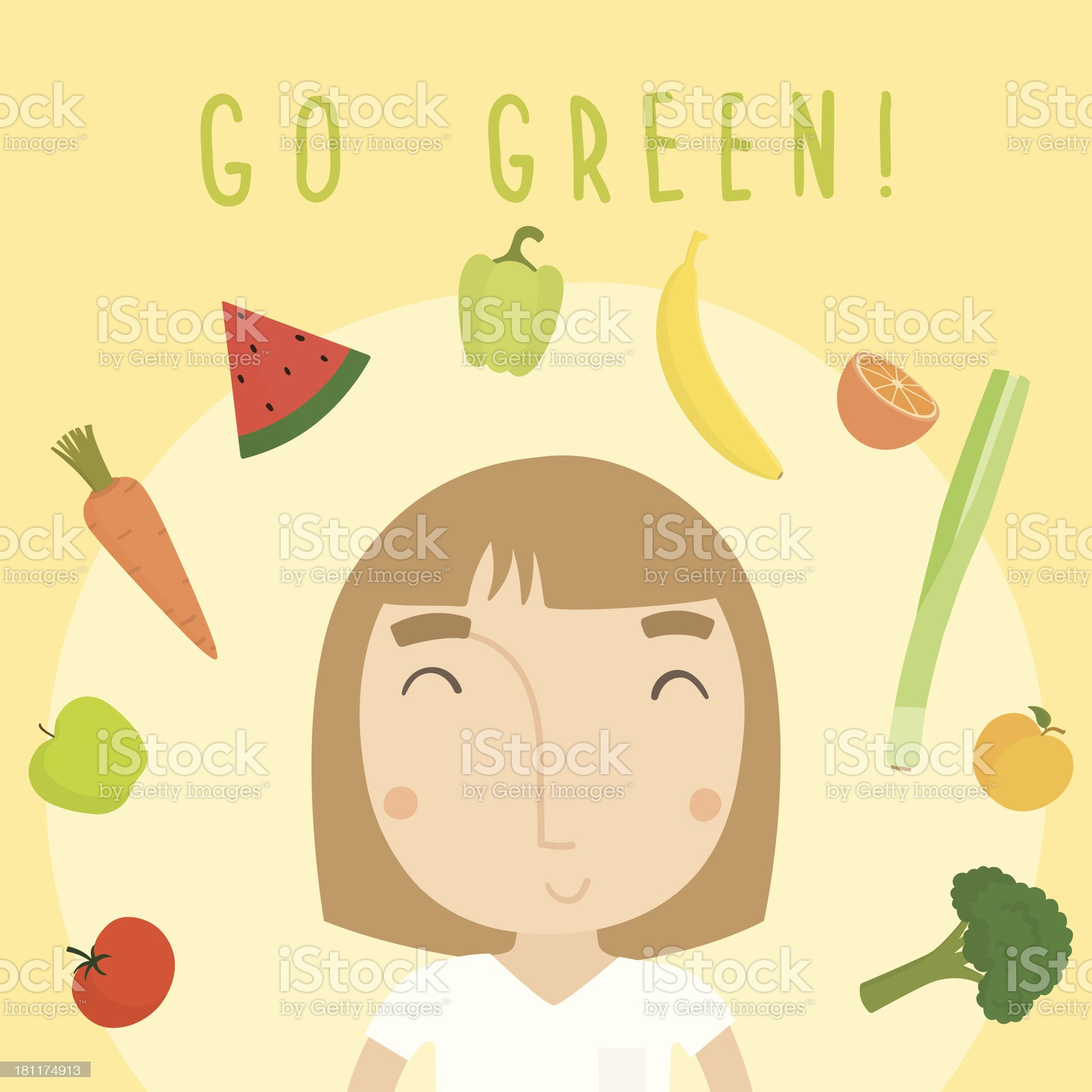 Go green girl and vegetables royalty-free stock vector art