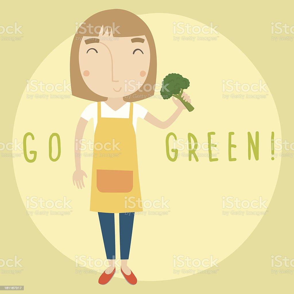 Go green girl with broccoli vector art illustration