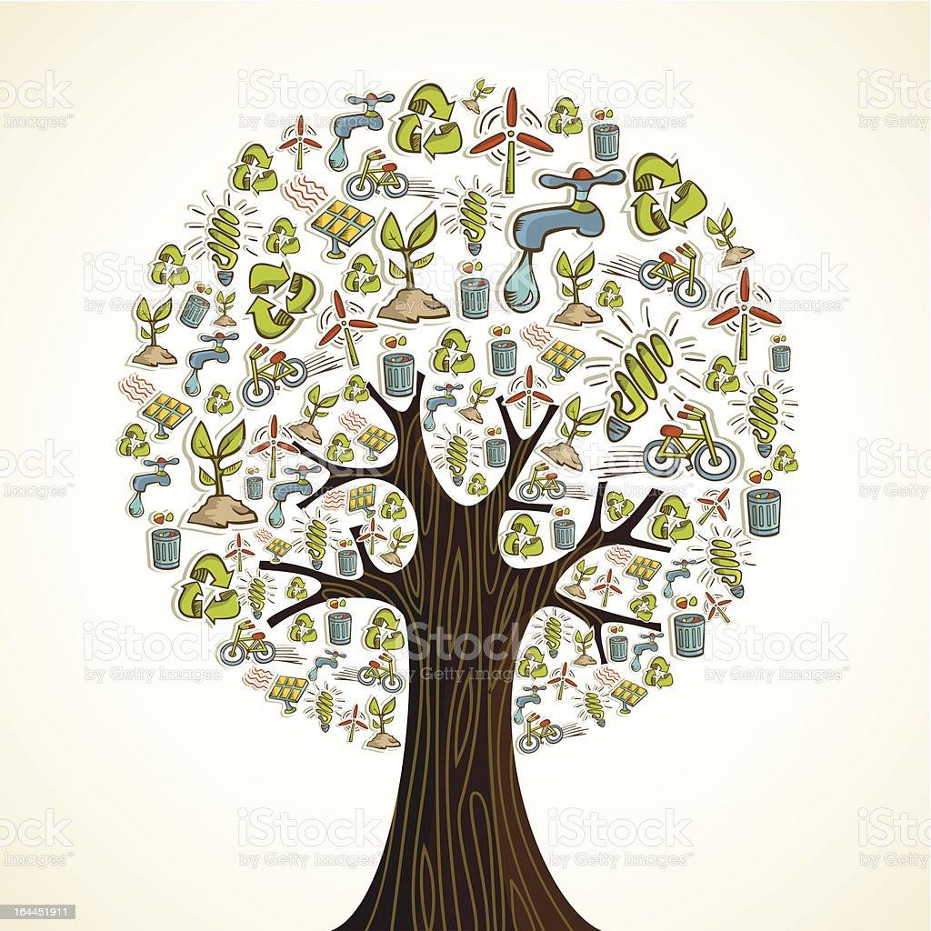 Go Green icons tree royalty-free stock vector art