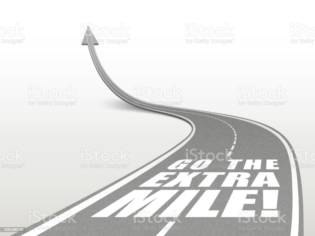 go the extra mile words on highway road vector art illustration