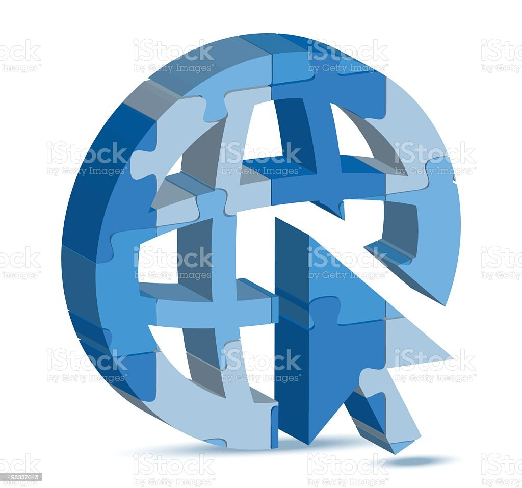 go to web icon in puzzle vector art illustration