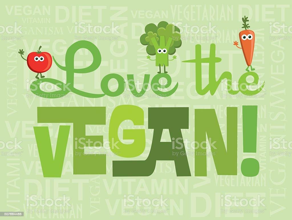 go vegan card design vector art illustration