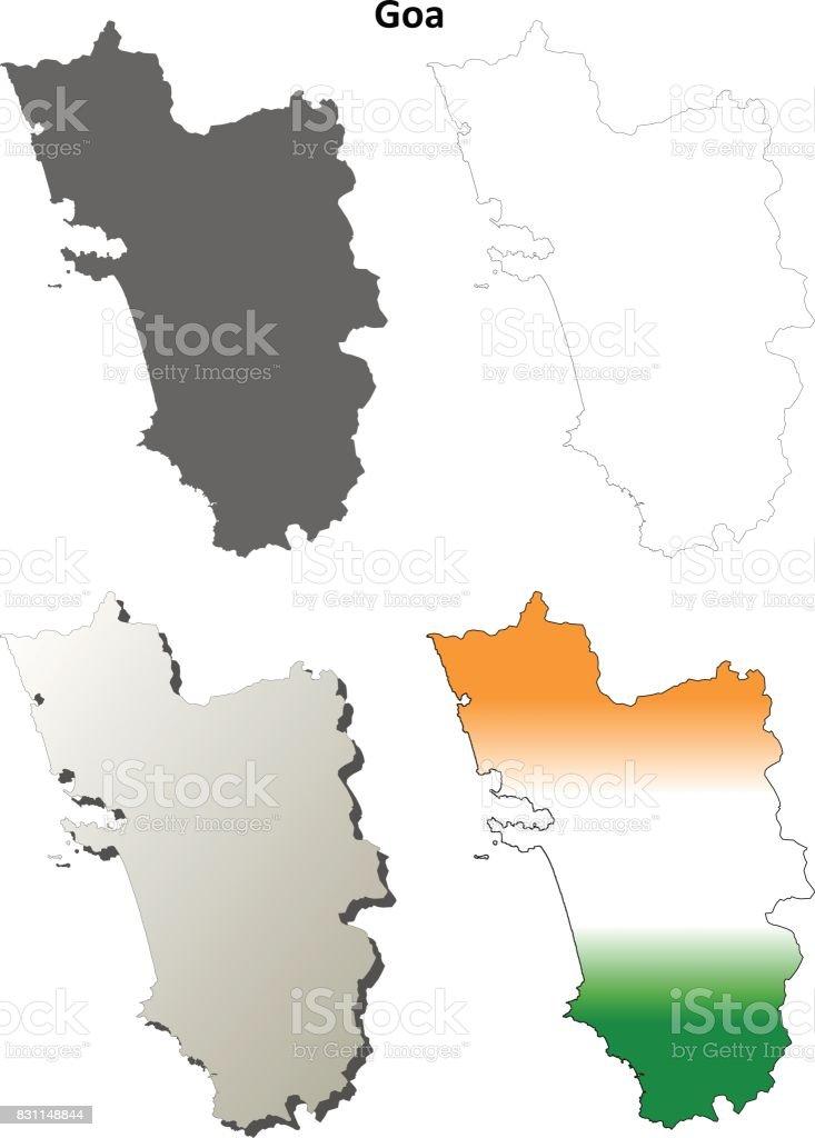 Goa blank detailed outline map set vector art illustration