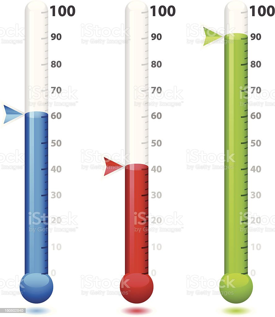 Goal Thermometers royalty-free stock vector art