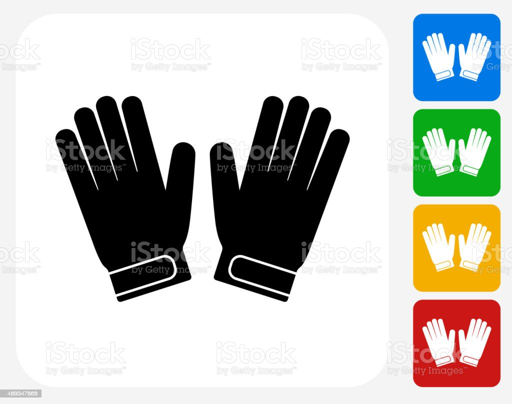 Goalie Gloves Icon Flat Graphic Design vector art illustration