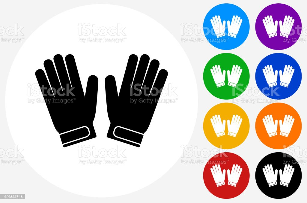 Goalie Gloves Icon on Flat Color Circle Buttons vector art illustration
