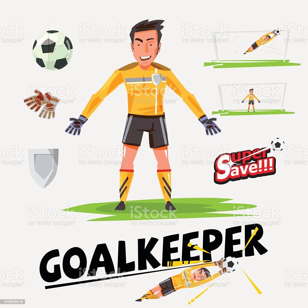 goalkeeper character design with icon set - vector vector art illustration