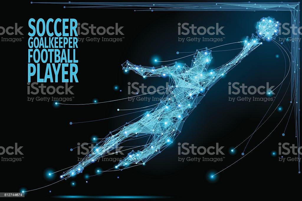 Goalkeeper poly soccer vector art illustration
