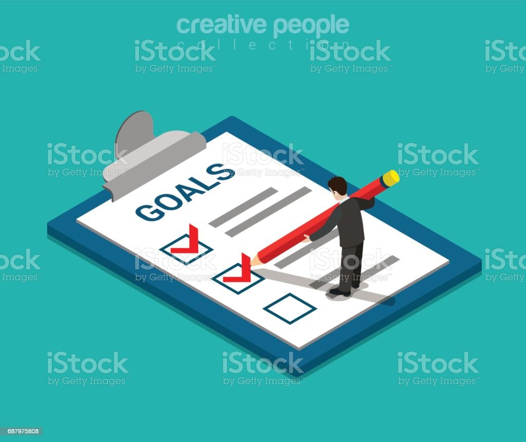 Goals checklist flat 3d isometry isometric business concept web vector illustration. Creative people collection. vector art illustration