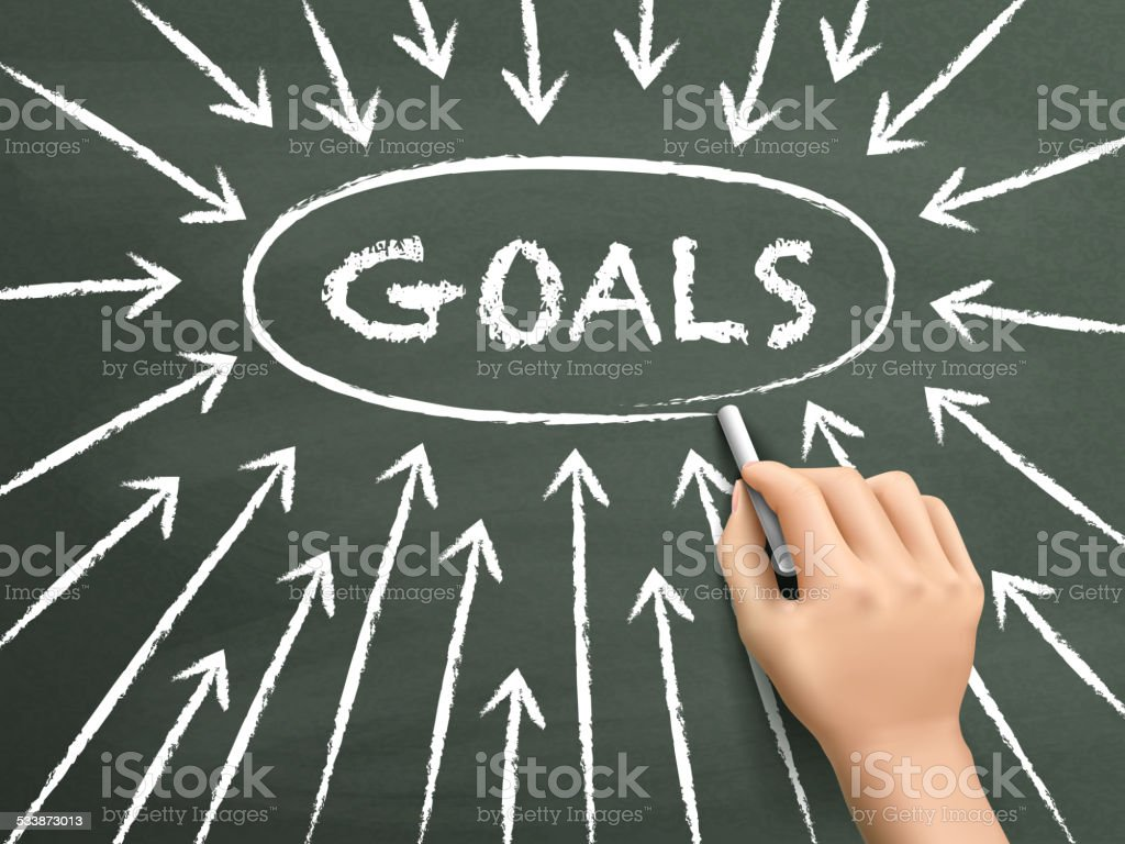 goals concept with arrows written by hand vector art illustration