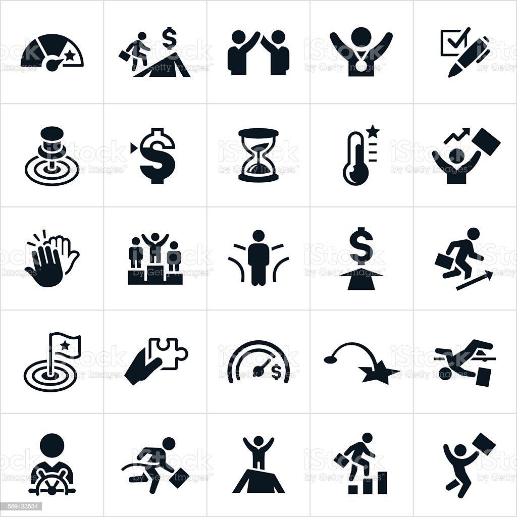 Goals Icons vector art illustration
