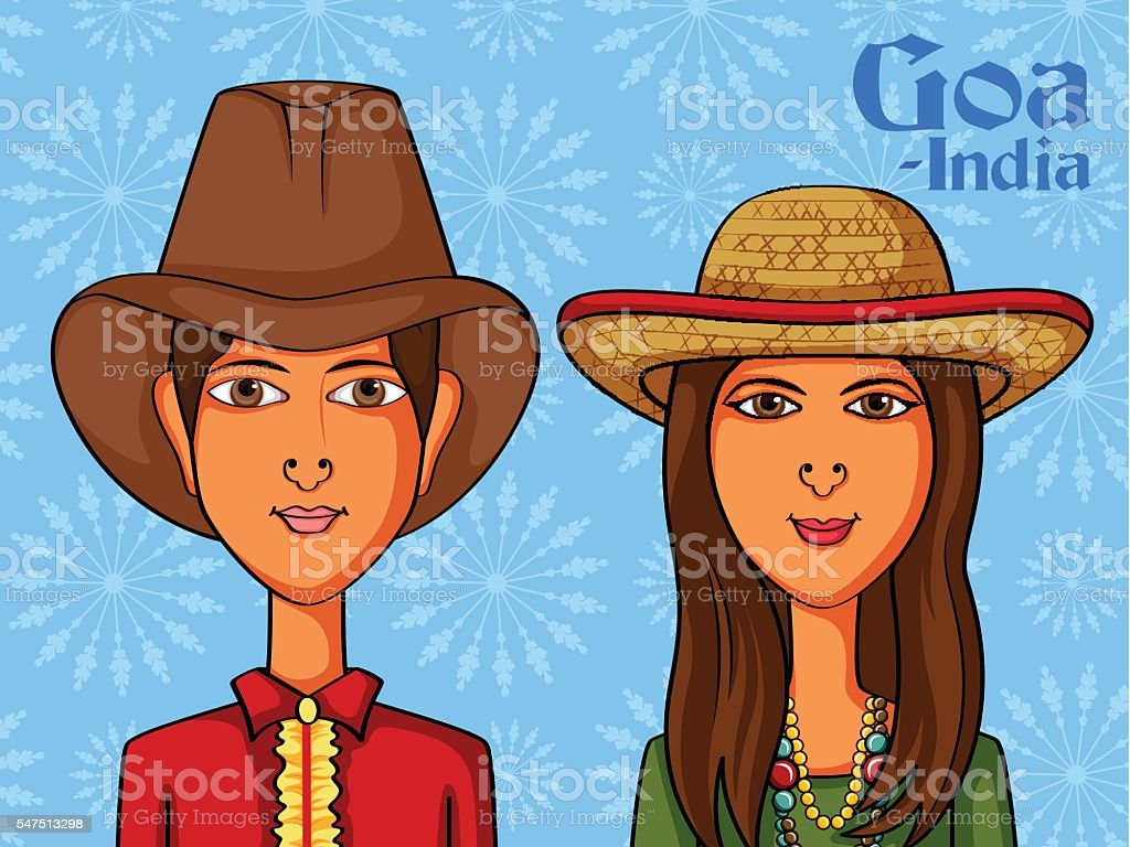 Goan Couple in traditional costume of Goa, India vector art illustration