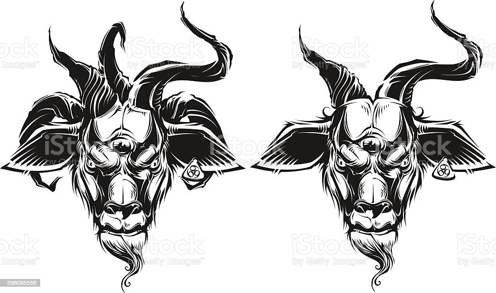 Goat head vector art illustration