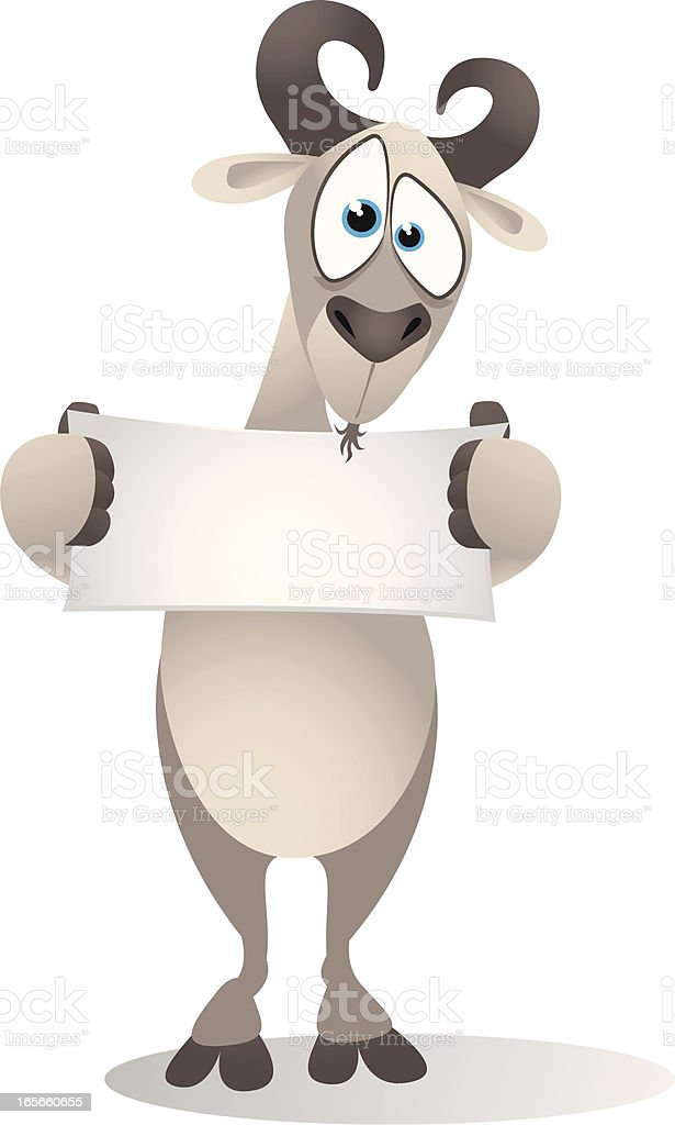 Goat holding a small blank banner royalty-free stock vector art