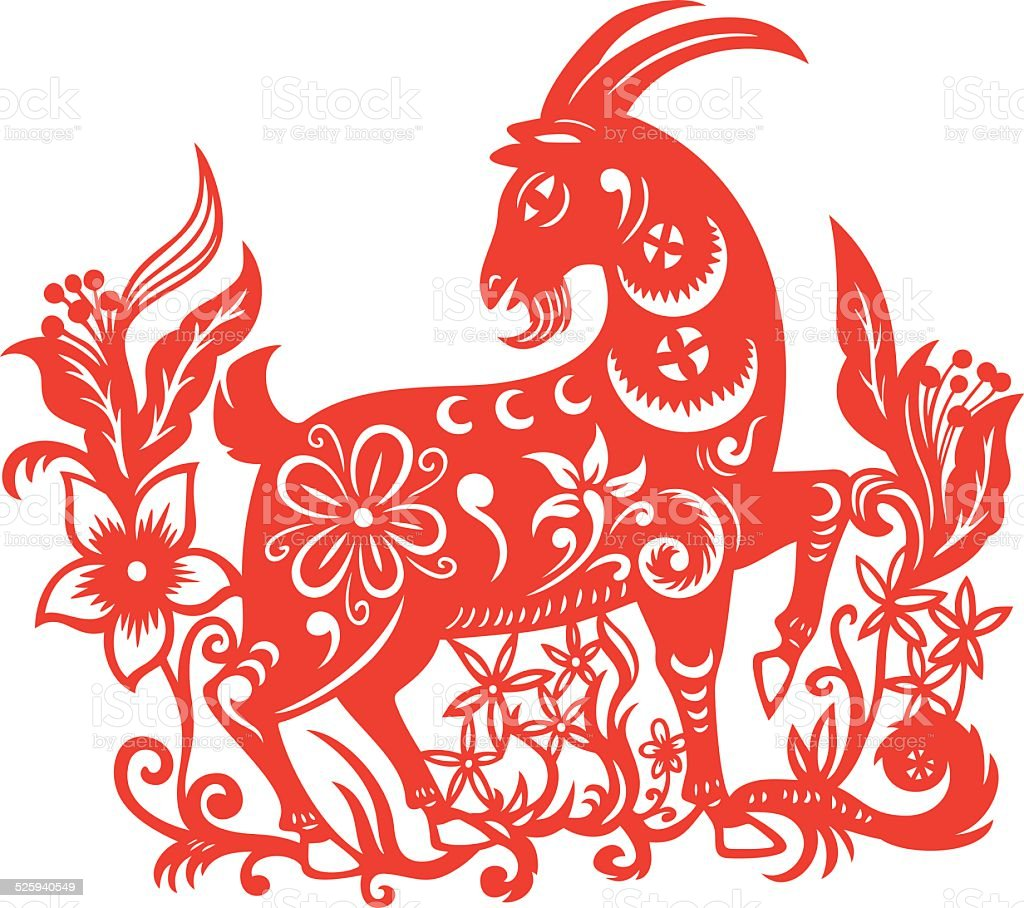 Goat papercut vector art illustration