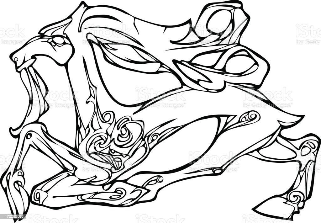 Goat. Scythian ornament vector art illustration